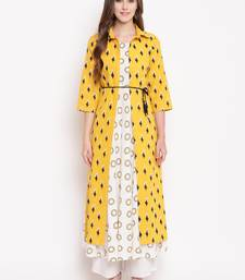 yellow ikath jacket ethnic-kurtis cotton cream