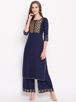 Navy zari kplset kurtas-and-kurtis rayon navy-blue