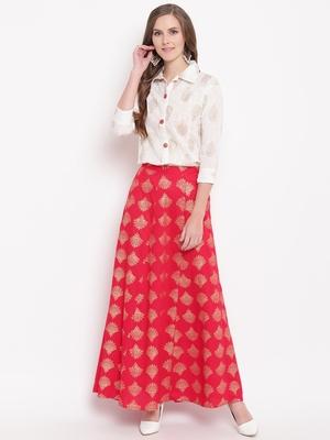 Red zoom skirt set kurtas-and-kurtis rayon cream