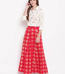 Red zoom skirt set kurtas-and-kurtis rayon cream