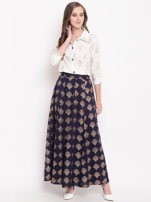 Blue zoom skirt set kurtas-and-kurtis rayon cream