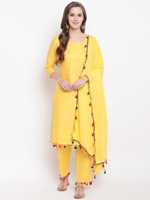 Yellow Solid Rayon Straight Kurta Pant & Dupatta Set