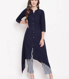 Navypantkpset kurtas-and-kurtis rayon navy-blue