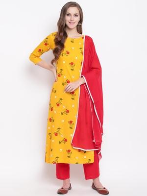 Yellow Floral Print Rayon Kurta Pant & Dupatta Set