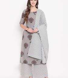 Silverkpldset ethnic-kurtis rayon grey