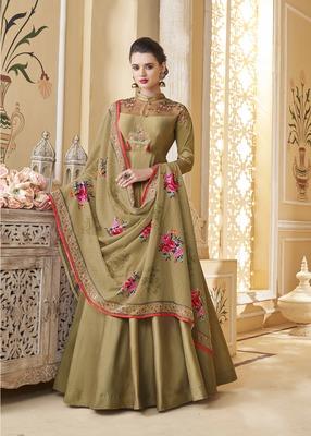 Olive embroidered silk salwar