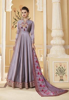 Lavender embroidered silk salwar