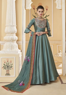 Teal embroidered silk salwar