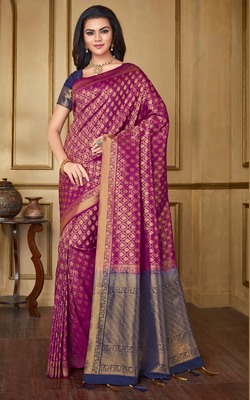 Magenta woven banarasi silk saree with blouse