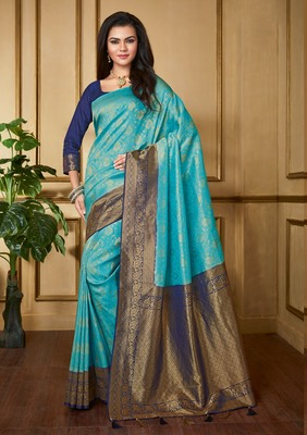 Sky Blue Woven Banarasi Silk Saree With Blouse