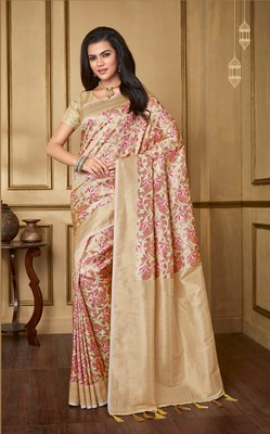 Cream Woven Banarasi Silk Saree With Blouse