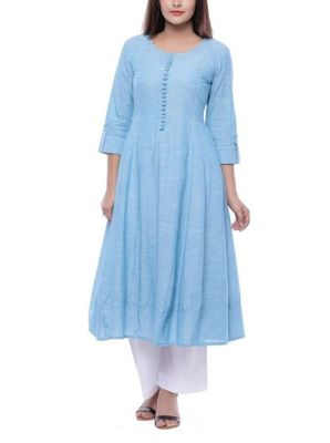 Sky-blue plain cotton long-kurtis