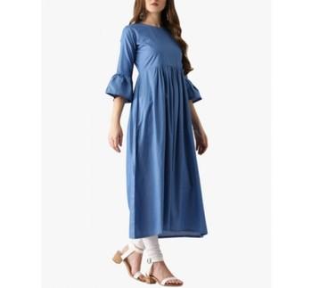 Light-blue plain cotton long-kurtis