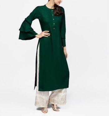 Dark-green plain cotton long-kurtis