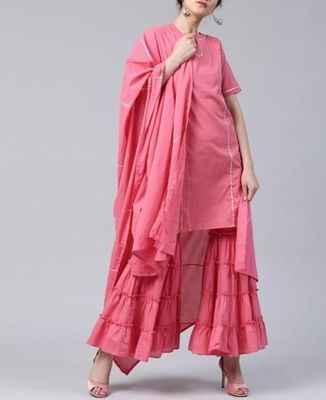 Pink plain cotton long-kurtis