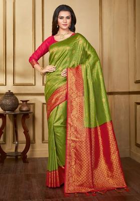 Parrot green woven banarasi silk saree with blouse