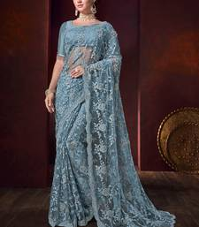 Grey embroidered net saree with blouse
