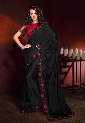 Black embroidered lycra saree with blouse