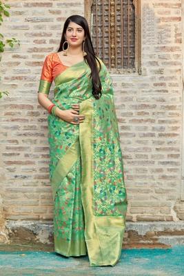 Light parrot green woven banarasi silk saree with blouse