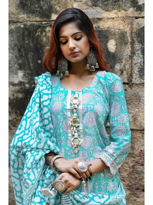 green block print cotton kurta sets