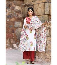 maroon block print cotton kurta sets