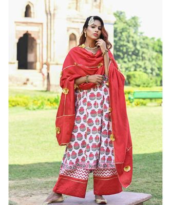 red block print cotton kurta sets