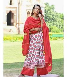 red block print cotton kurta sets