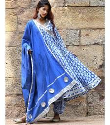 blue block print cotton kurta sets