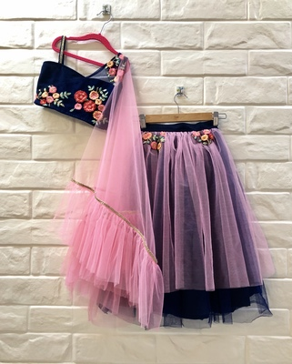 Blue And Pink Thread Work Net Lehenga With Attached Dupatta