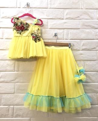 Lemon Yellow Zari Work Net Peplum Blouse And Skirt