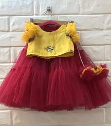 Red And Yellow Zari Ork Net Lehenga Silk Blouse Set