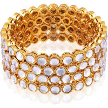 Traditional Ethnic Gold Plated Kundan White and Golden,Bangle Set Jewellery for Women and Girls. Set of Four Bangles.