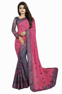 Pink and Gray Net Embriodered Half-Half Saree With Blouse Piece.