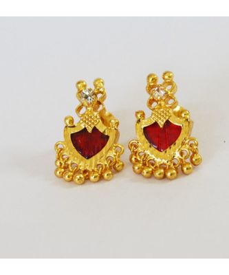MAROON PALAKKA STUD EARRINGS