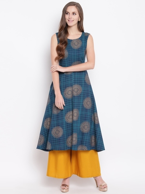 Flared blue kurti palazzo set with attatched sleeves decorated with gold motifs all over.