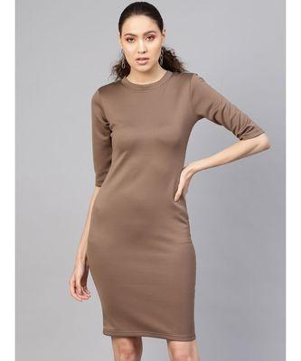 Brown Metal Trim Bodycon Dress