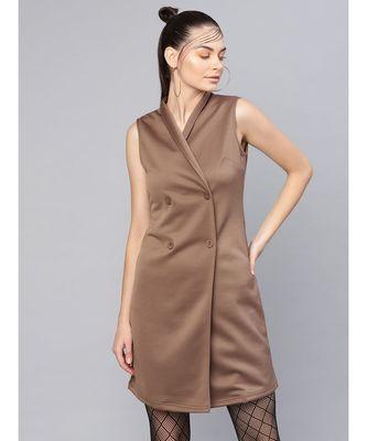Brown Sleeveless Blazer Dress