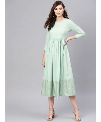 blue Foil Printed Gathered Dress