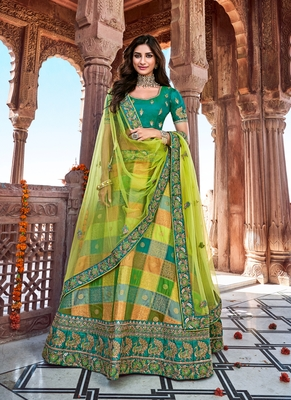 Pear thread embroidery silk semi stitched lehenga