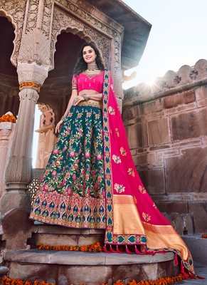 Dark-teal thread embroidery silk semi stitched lehenga
