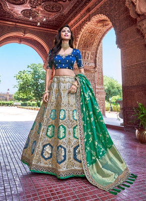 Grey thread embroidery silk semi stitched lehenga