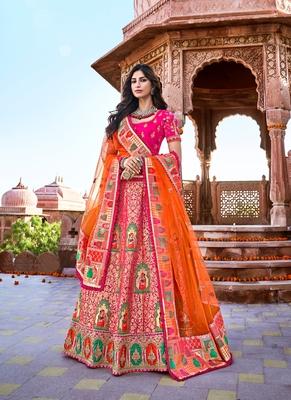 Rani-pink thread embroidery silk semi stitched lehenga