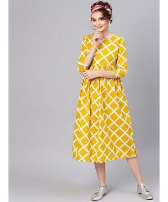 yellow Diamond Print Gathered Dress