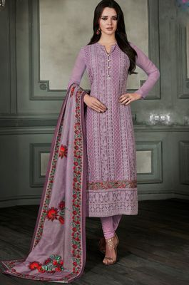Light-purple chikankari georgette salwar