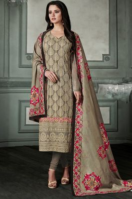 Light-brown chikankari georgette salwar