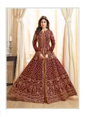 Maroon embroidered jacquard salwar