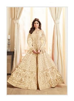 Cream embroidered jacquard salwar