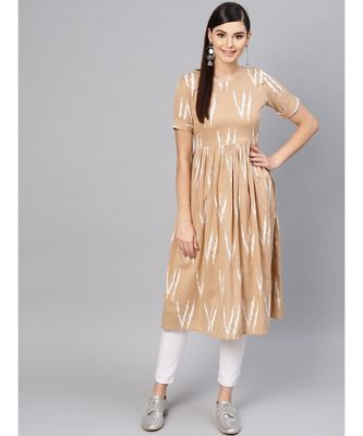 Brown Ikat Gathered Back Placket Dress