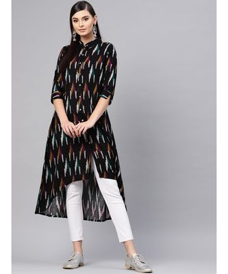Black Ikat High Low Shirt Dress