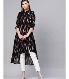 Black Ikat High Low Shirt Dress